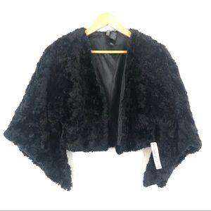 NWT BISOU BISOU Black Faux Fur Cropped Jacket